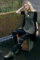 asos boots - Desire Clothing leggings - asos shirt - Topshop necklace - H&M vest