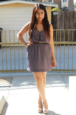 light purple Lush dress - light pink wedges - eggshell accessories
