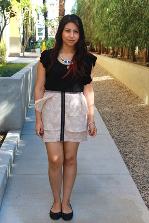 light pink BCBG skirt - black top - black Charlotte Russe necklace