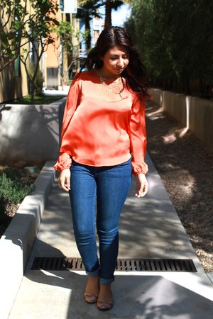 carrot orange top - blue jeans - eggshell flats