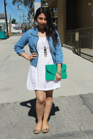 aquamarine bag - white dress - sky blue jacket