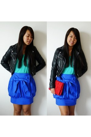 black biker leather H&M jacket - red roses H&M bag - blue balloon Primark skirt