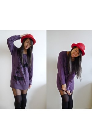 red bowler hat hat - minnie mouse H&M sweater - bow suspender Pamela Mann tights