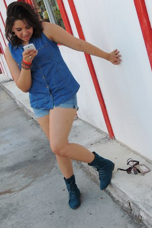 studded Forever 21 shirt - Addison Boutique boots - Forever 21 shorts