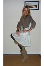 Beige-slouchy-boots-white-striped-womens-secret-dress-dark-khaki-military-se