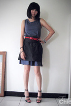 Muji dress - ck skirt - Topshop belt - Pierre Hardy shoes