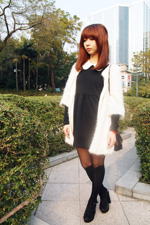 mock knee high tights - dress - faux fur coat - Chloe bag - chunky asos heels
