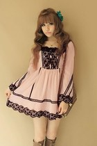 Vintage Pink Dress with Black Lace