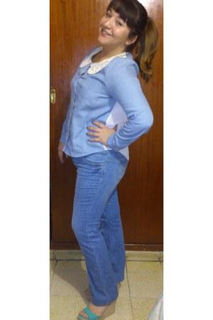 sky blue DKNY jeans - sky blue random brand blouse