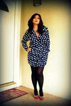 blue vintage dress - gray Nine West shoes - black Anne Klein tights