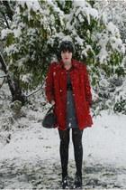 London Fog jacket - free people dress - Bass wedges