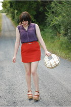 Rocket Dog wedges - Fossil purse - etienne aigner belt - Gap skirt