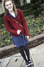 Navy-thrift-store-shoes-navy-target-tights-tan-thrift-store-purse-brick-re