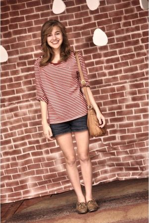 blue Target shorts - red Ralph Lauren top - brown sperry topsider shoes - brown