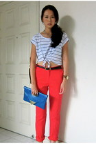 blue asos purse - white cropped cotton on top - red Mango pants