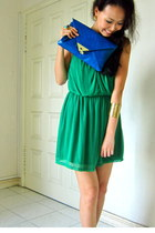 green Topshop dress - blue asos purse