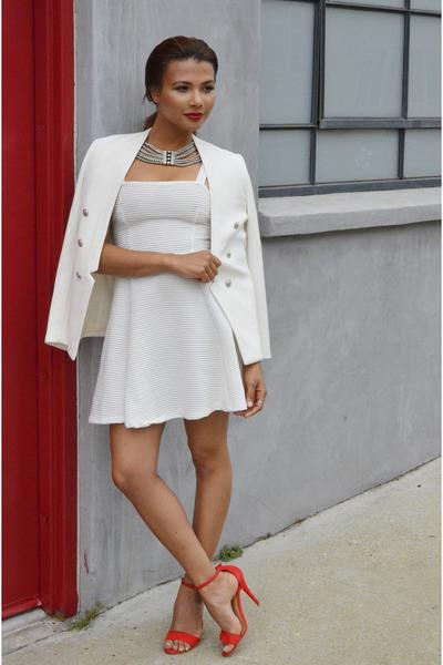 chic Topshop dress - ankle strap MaxMara shoes - casual chic Zara blazer