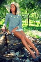 Patrizia Pepe hat - leather lanvin shoes - asymmetrical Zara sweater