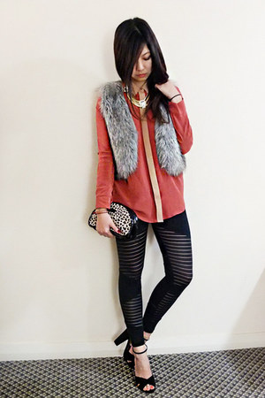 faux fur Miss Shop vest - black tights - silk bardot top - suede Siren heels