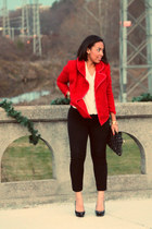 red eShakti jacket - black asos purse - ivory Old Navy blouse - black Aldo pumps