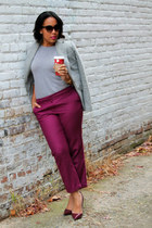 maroon shoemint shoes - heather gray Gap sweater - heather gray Gap blazer