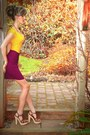 Maroon-jacob-skirt-gold-supre-top-brown-steve-madden-clogs