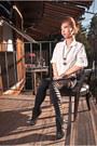 Black-h-m-shoes-black-karmaloop-leggings-gold-h-m-earrings-white-h-m-blous