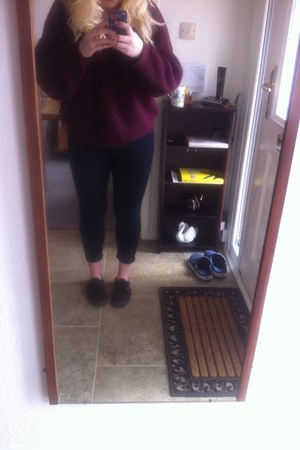 black Vans shoes - black Topshop jeans - ruby red Topshop jumper