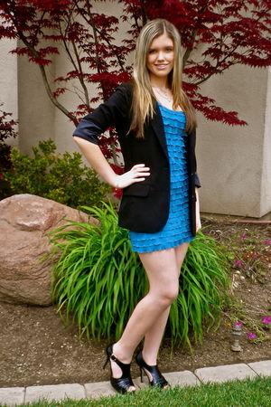 blue velvet torch dress - black Frenchi blazer