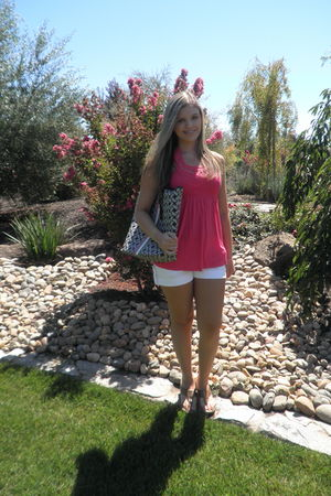 pink Juicy Couture top - white shorts - Burberry shoes - Juicy Couture bag