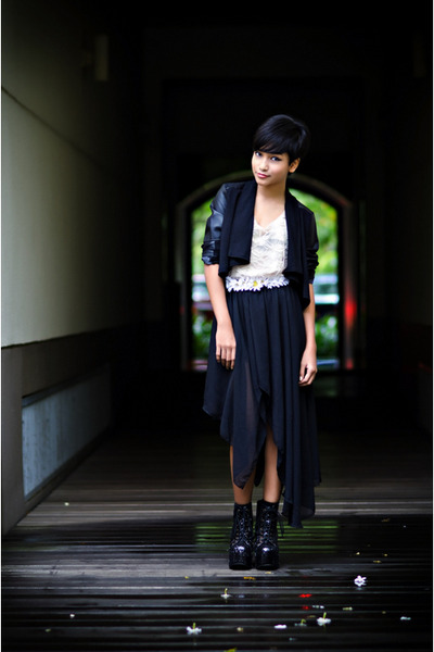 black LUCYD ACYD jacket - black thrifted skirt - cream thrifted top - black Jeff
