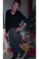 dior homme sweater - Zara t-shirt - Hermes belt - Les Copaines pants - Prada sho