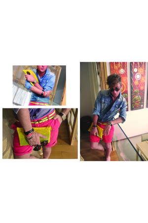 navy Marc by Marc Jacobs shirt - hot pink Lefties shorts
