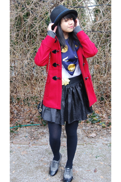 red some place jacket - black H&M tights - silver Forever 21 shoes - black Max R