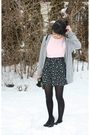 Pink-shirt-silver-forever-21-cardigan-black-h-m-skirt-black-tights-black