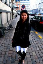 H&M jacket - Vila blouse - Topshop dress - Monki leggings - asos shoes - GINA TR