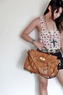 White-h-m-top-black-random-shorts-brown-bought-in-china-market-bag