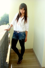 White-homemade-shirt-blue-gift-from-client-jeans-black-zara-belt