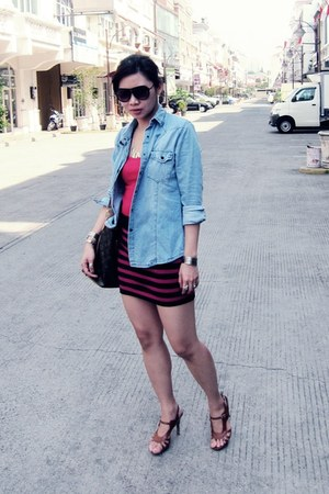 ribbing singlet Forever 21 top - denim shirt Zara shirt