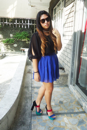 blue OASAP skirt - black CMG heels