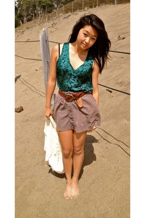 green Forever 21 top - puce corduroy Forever 21 skirt