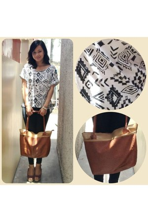 white aztec top - brown bag - hot pink Payless wedges