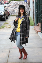 black plaid Target coat - rain boots Target boots - yellow Old Navy sweater