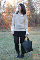 tan Old Navy sweater - black scalloped Old Navy shorts