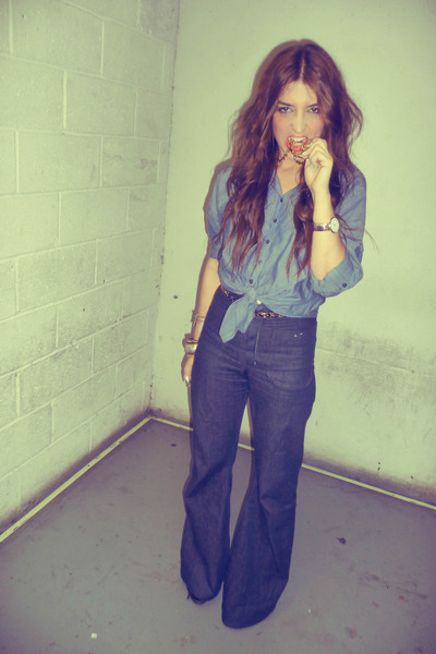 blue chambray H&M blouse - blue flared vintage jeans