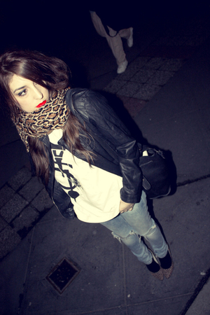 black Primark jacket - white 5Preview t-shirt - blue H&amp;M jeans