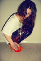 orange Primark shoes - black Forever 21 leggings - white American Apparel t-shir