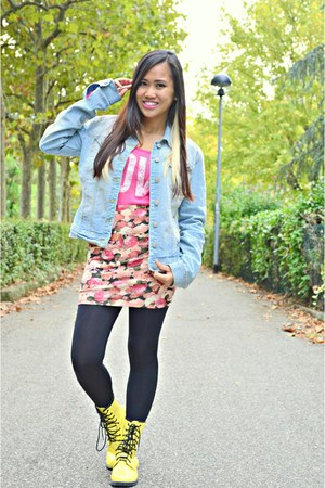 sky blue Terranova jacket - light yellow combat boots Tomato boots