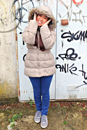 beige Zara jacket - navy Rogue jeans - periwinkle Adidas sneakers
