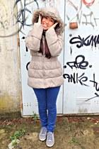 beige Zara jacket - navy Rogue jeans - periwinkle Adidas sneakers